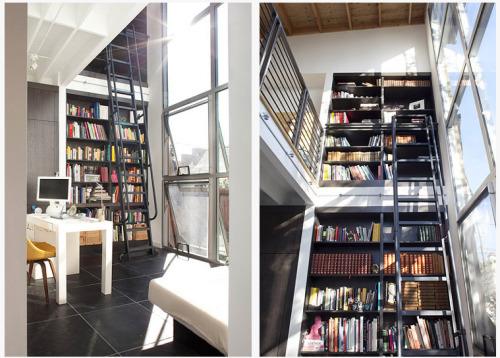 cool workspace + library and windows (via desire to inspire)