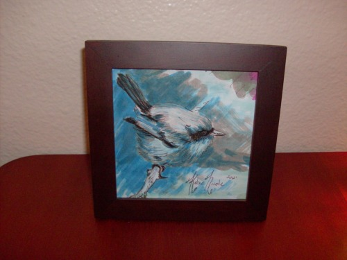 Finally got my birds framed and listed for sale in my etsy shop! Go to the link below if you'd like a cute little bird all your own! https://www.etsy.com/people/kelsieparker This particular bird has been sold, however I can be commissioned to do a similar one upon request.