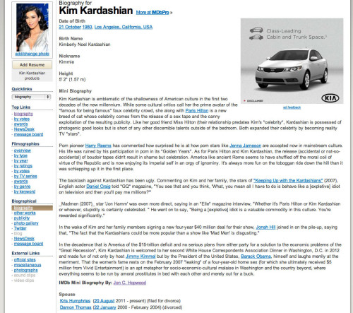 kim kardashian iMBD profile before it was taken down. FUCKING READ IT! ITS THE MOST BEAUTIFUL THING I HAVE EVER SEEN.