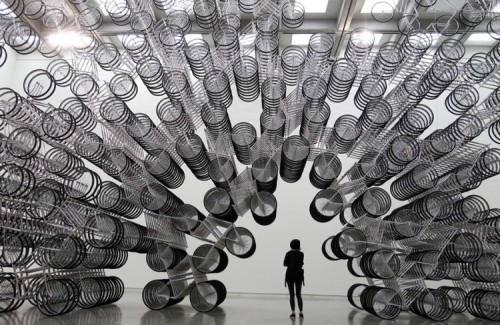 m0dernart:  Forever Bicycles Ai Weiwei 2003   Bicycles by the dissident artist in China. At first I only sympathized with him for his plight. Now I love him.
