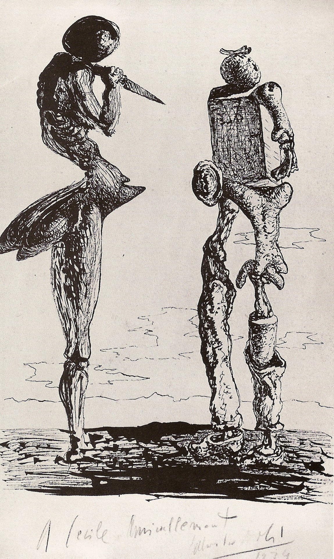 "dominiquezumwalt:  S. Dalí, Homage to the ""Angelus"" of Millet, ink; 1934"