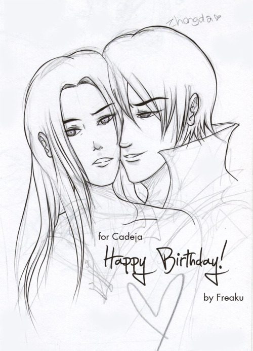 "cadeja:    Freakuness: I hope you like it! :D Cadeja: A lovely birthday pic, and now a (tiny) fic to go with it: Cake ""Pi,you realize that … this apron has some serious design oversights. The low cut neck… is definitely a burn hazard.""""Zhongda, you're missing the point.""Yi plucks at and then pats down a ruffle sitting on his clavicle, casting it a glance as if it's infected.""No… I perfectly understand why you want this. I just think we should skip right to, you know, actual sex instead of this awkward foreplay.""Yi shifts his weight from foot to foot; I draw him in by the wrist until he's stuck leaning his weight on me.""Zhongda… this is about us spending time together. I value your mind, your self, more than any other part of you, Zhongda. Remember.""I let his wrist free, he rests his forehead to mine.The back of that freed hand of his runs down my cheek.""Very well… I believe you, Zihuan.Which is why I know you won't mind if I take off this stupid apron and put my shirt back on.""""Damn it, Zhongda, no. Just play along. It's my birthday.""Yi sighs, crosses his arms and frowns a bit.""Yes, which is why I came over when you asked me to help you bake a cake, only to get talked into this.""""If you recall, Zhongda, I also wanted you with your pants off.""He pushes off from me and pinches the bridge of his nose.""That's absurd. Baking in the nude should never be done, at least for sanitary reasons.""""Then don't bake, Yi. Just stay in my view.""He uncrosses his arms and toys with the lace at his clavicle.""So… for your birthday, Zihuan, you want to bake a cake while I stand here naked and useless?""Cute. I reel him in by the elbow, plant a kiss on his brow."" You wouldn't be useless, more like … motivation.""""Very well, Zihuan ,I can do that."""