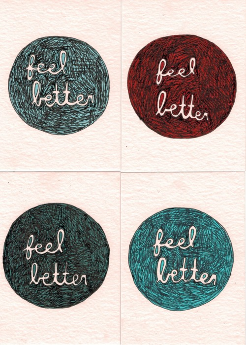 chelseadirck:  feel better cards. hand painted/drawn. gouache and ink. 2012.