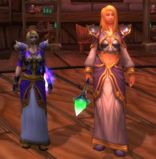 This would be a cute little transmog for a mage that wants to look like the one and only Jaina Proudmoore!Chest: Sketh'lon Survivor's Tunic Shoulders: Mantle of Maz'Nadir Legs: Soothsayer's KiltBelt: Serenity Belt but could use Arcanist Belt Could use White Swashbuckler's Shirt with this to make the sleeves long. Staff you could use Emberstone Staff or Jaina's Staff. But the Emberstone Staff matches hers.