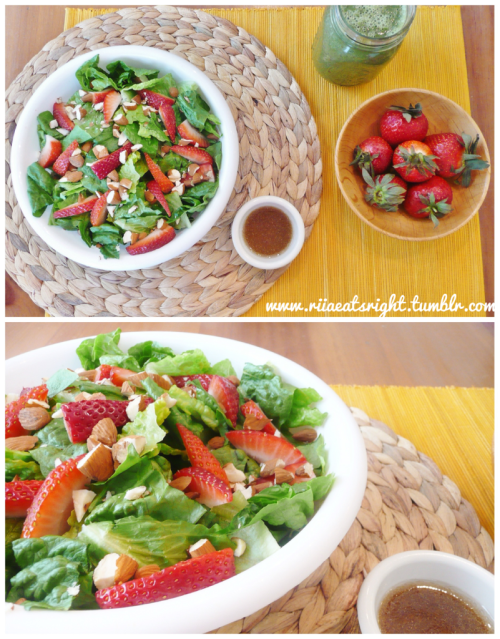 Riia's Strawberry Almond Salad Ingredients: Leafy Greens (spinach, kale, romaine, etc) Strawberries (sliced) Almonds (sliced) Hemp Hearts (optional) Dressing (I used Sesame) How To: It's super easy! Throw the leafy greens in a bowl and top with strawberries, almonds, hemp hearts, and a little dressing of your choice! Enjoy! :)