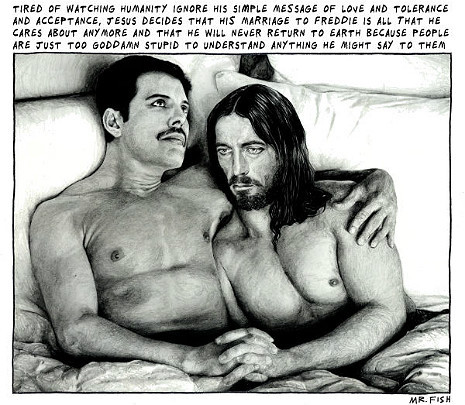 christiannightmares:  Jesus, Freddie Mercury and Gay Marriage (For more info, click here; Found at Dangerous Minds)