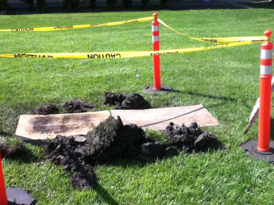So, a meteorite hit campus today.  (Not really, there was an air pocket that pretty much exploded)