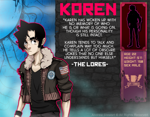 "Hey Meet Karen! first Cast card from my webcomic. I'll be adding a new one every time a new character int he story is fully established. Also I am back from my ""Finals"" hiatus so a new page at midnight ESTime tonight!"
