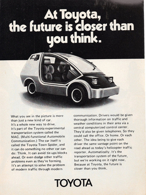 Imagine. Cars with phones and traffic info systems.  ripituc:  1973 Toyota Town Spider Concept Vehicle by aldenjewell on Flickr.