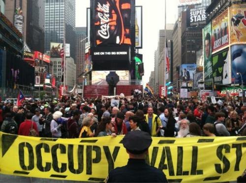 thepeoplesrecord:  Occupy Wall Street in Times Square today.