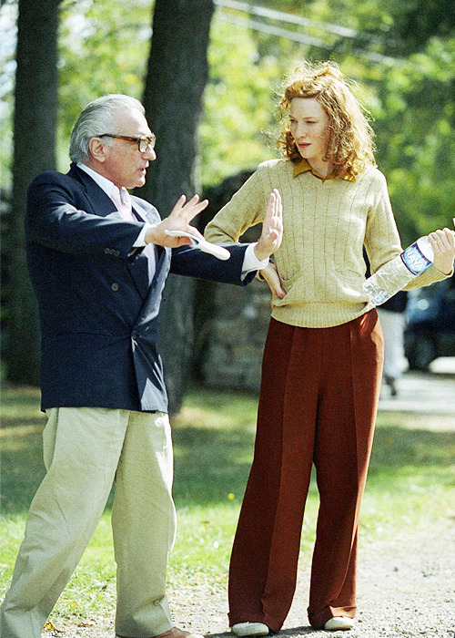 Martin Scorsese gives Cate Blanchett directions on the set of 'The Aviator', 2004.