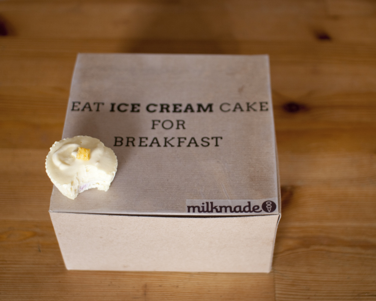 milkmade flavor of the day: Eat Ice Cream Cake for Breakfastvanilla-berry swirl cupcake bottom, Cap'N Crunch ice cream topToday we're having a little ice cream social over at Kate Spade. To honor their slogan, Eat Cake for Breakfast, we crafted up this little flavor. And changed it a bit to EAT ICE CREAM CAKE FOR BREAKFAST. This is our Crunch Berry Ice Cream (remember that?), but in ice cream cupcake form. And it's awesome. Here's more:    And yes, we ate one for breakfast.