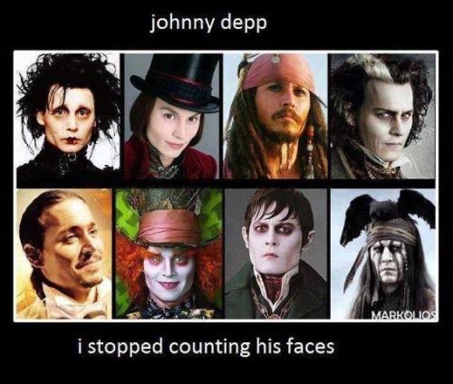 Apparently due to Johnny Depp's many faces, (characters) he owns the record in Hollywood of having the most impersonators. -Jimmy Kimmel