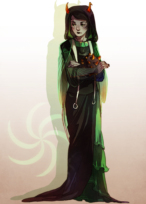 "kanaya is the high priestess (""sylph"") of the Convent of the Dolorosa, which follows 'the way of suffering' as laid down by the first mother herself. despite her gentle looks, she has been trained from birth to protect the matriorb, for which she has sole responsibility. kanaya also acts as an advisor to the baroness, although her allegiances are with a certain redblood zealot… design-wise i was going for a nun sort of look ??!! hahaha i realized that these fancy godtiers were me just smooshing ancestor designs x godtier outfits together, but it was kinda inevitable… (ᇂ_ᇂ ""') oh well!! sollux & eridan have already been done!"
