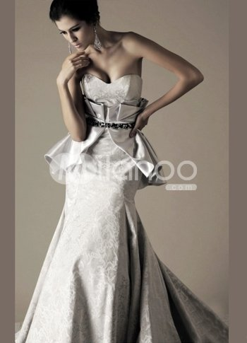 Slim White Satin A-line Sweetheart Sweep Evening Dress :  slim sweetheart white satin