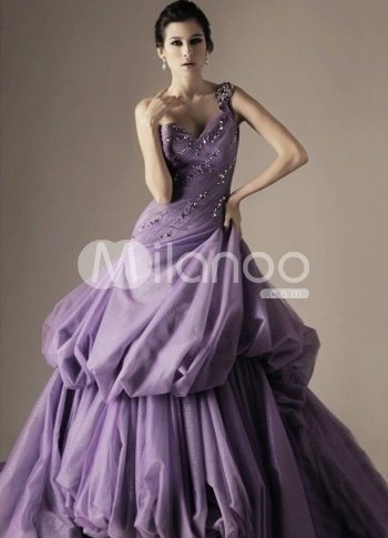 Romantic Lilac Taffeta One Shoulder A-line Sweep Ball Gown :  lilac taffeta one shoulder ball gown