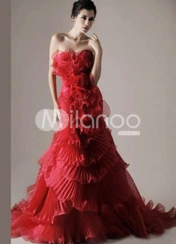 Attractive Red Satin A-line Sweetheart Sweep Mardi Gras Dress from annanism.tumblr.com