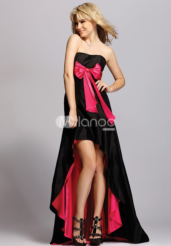 A-line Strapless Satin Empire Waist Sash Long in Back Short in Front Prom Dress :  black prom dress strapless satin