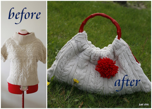"truebluemeandyou:  DIY No Knitting Sweater Handbag Tutorial. Love this tutorial from Just Chic here. *Originally I was going to skip reading this post because I saw the word ""Etsy"" (nothing wrong with Etsy but I'm looking for DIYs!) and thought this was a really expensive bag from their site."