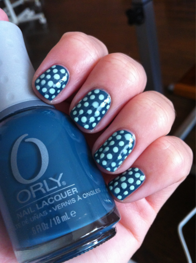 Teal with mint dots! Orly - Sapphire Silk and Essie - Mint Candy Apple