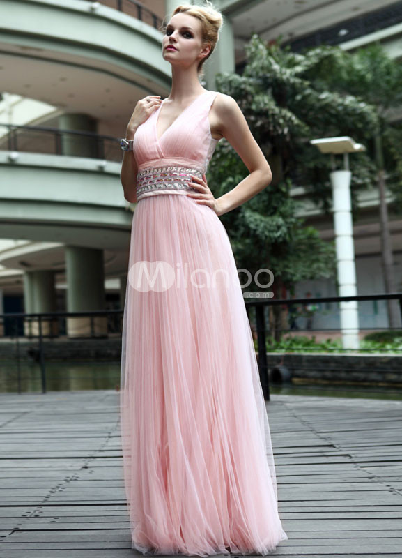 Pink Sash Floor Length V-Neck Chiffon Graduation Dress :  pink chiffon floor length dress