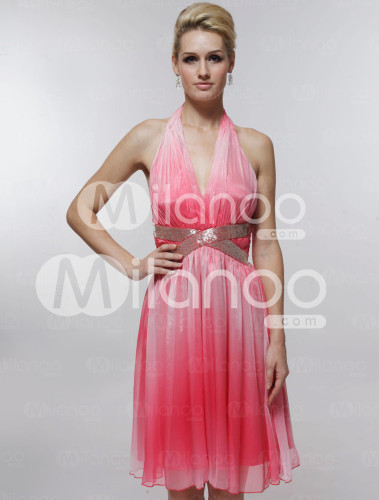 Likable Pink Satin Gauze V-neck Knee-length Graduation Dress
