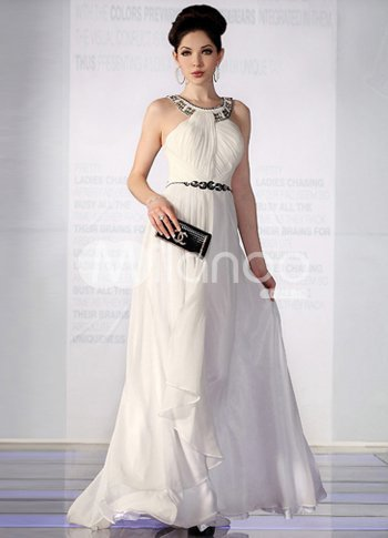 Elegant White Chiffon Silk Satin Halter Beaded Evening Dress