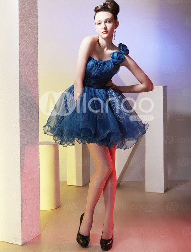 Modern Dark Blue One Shoulder Tulle Short Cocktail Dress :  dark blue one shoulder short dress