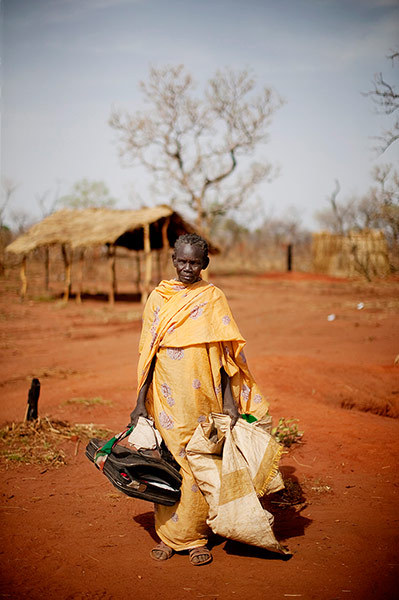 An elderly woman from South Kordofan is photographed shortly after arriving at a refugee registration centre in the Yida refugee camp in Unity State, South Sudan. In recent weeks, aid agencies have reported a steep influx of new arrivals, at times exceeding 700 per day. More than 30,000 refugees currently reside in Yida having fled the war between the Republic of Sudan and rebel forces in South Kordofan. Photograph: Pete Muller/AP