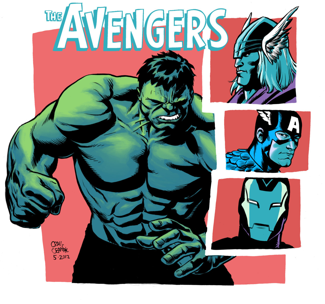 Avengers piece, done for the return of the Omega Sketch blog. Check out all the others here: http://omegasketch.blogspot.com/  Had a lot of fun drawing the Hulk's face and Cap's always a good time.