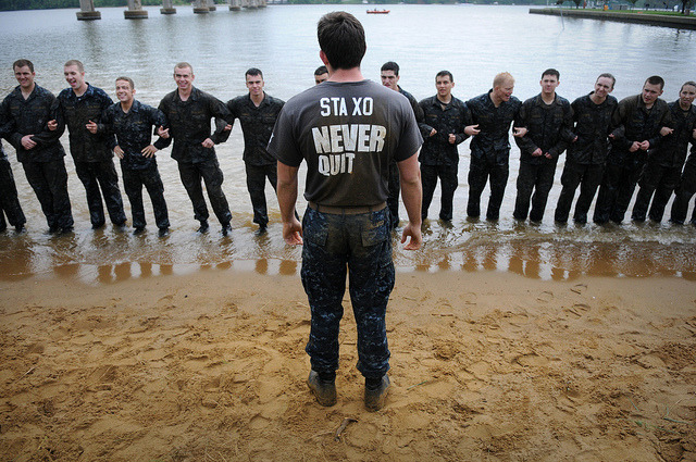 dlyt3ful:  An upperclass midshipman gives a briefing to first-year midshipmen. by Official U.S. Navy Imagery on Flickr.