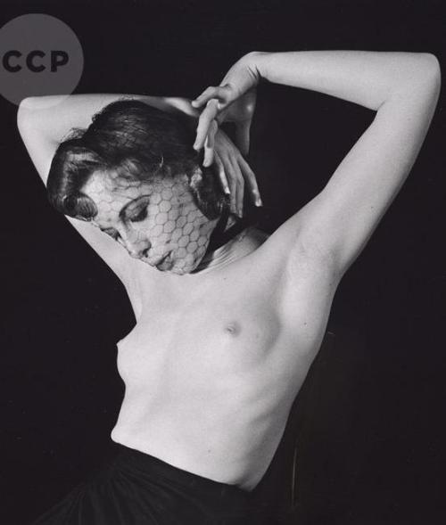 John Gutmann - Veiled Nude with Raised Arms, 1939.