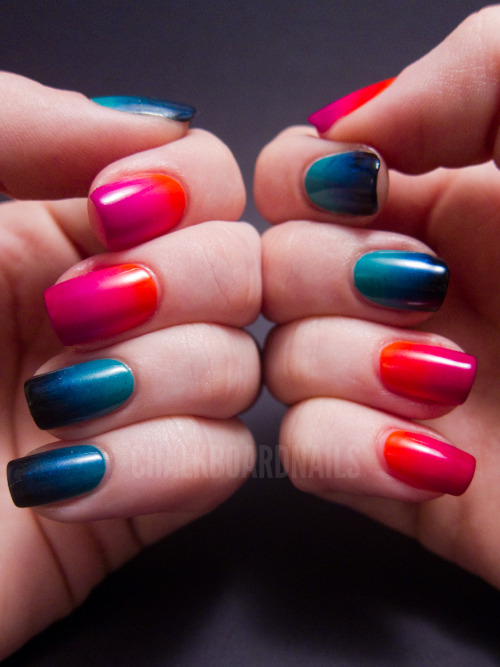 chalkboardnails:  Urban Decay Showboat Nail Kit Gradients I did these gradients using the tutorial done by the amazing Nailasaurus! It's the simplest way to make amazing and smooth gradients. Give it a look! CovetFishnetPerversionRadiumShowboatWoodstock