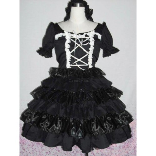 A-Line Short Sleeves Ruffled Cotton lolita dress Lolita232. 							Condition: Brand New Made Silhouette: A-LineSleeve length:Short SleevesFabric:CottonIncludes: Underskirt Shipping Weight:1.5KGSize:XS S M L XL XXLpls see the size chartShown Color:Shown as Picture Color amp; Style representation may vary by monitor.http://www.lolita-clothing.com/522-a-line-short-sleeves-ruffled-cotton-lolita-dress-lolita232.html