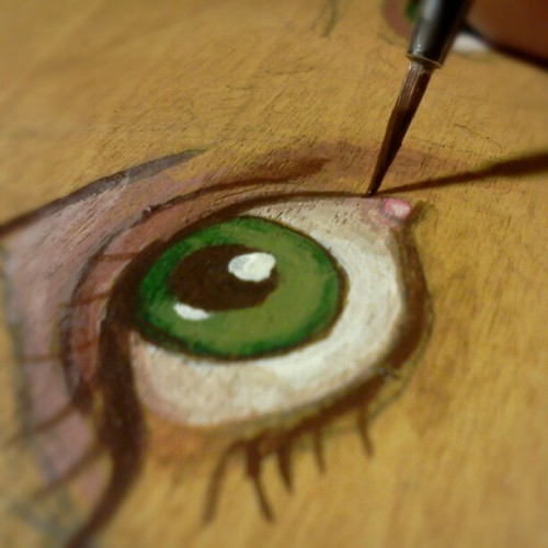 Painting an eye.  #paint #acrylic  (Taken with instagram)