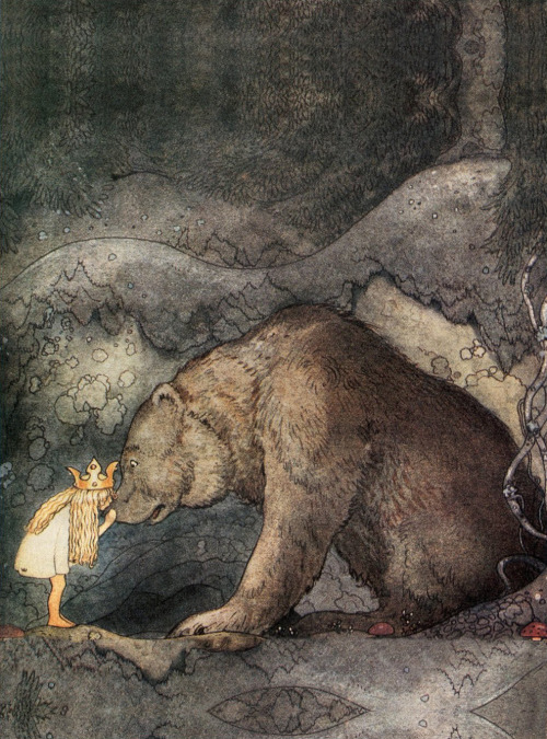 John Bauer, She Kissed the Bear on the Nose.