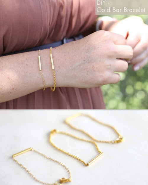 DIY Delicate Gold Bar and Chain Bracelet Tutorial. Easy, cheap and detailed tutorial from For the Love of… here.