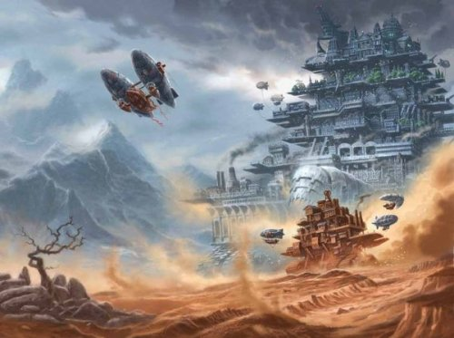 steampunkd:  Mortal Engines by Philip Reeve by ~3-hares Cover of recent re-issued novel - without the cutaway bit so complete picture is revealed.