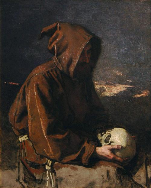 "thelocativecase:  antitacta:  Thomas Couture, Monk Contemplating a Skull. + Mortui Vivos Docent +  the hashtag ""morbid shit"" is great"