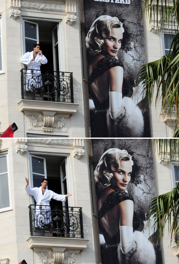 suicideblonde:  Eli Roth on his balcony during the 2009 Cannes Film Festival