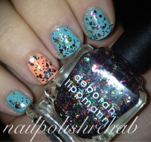 nailpolishfiend:  China Glaze -Peachy Keen & For Audrey Deborah Lippmann - Happy Birthday  I hate when I post to the wrong blog -_-