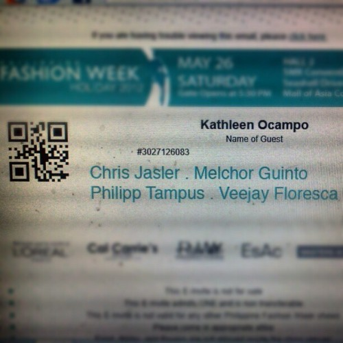 My e-invite for the Philippine Fashion Week Holiday 2012 show of Chris Jasler, Melchor Guinto, Philipp Tampus, & Veejay Floresca on May 26th! :) Thanks Veejay Floresca forthe invite. :-D #fashion #firsttime #excited (Taken with instagram)