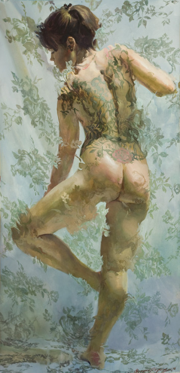 "Sergio Lopez ""Bella Isis"" 19x40 in. gouache on paper. 2011"