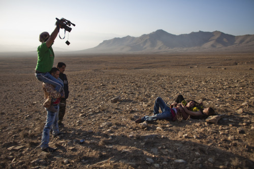 "The cast and crew of the production ""Doste"" film a scene on the outskirts of Kabul. Photo: Jonathan Saruk/Getty Images The war in Afghanistan is not over. Help us tell the story. Fund our Kickstarter."