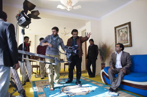 "Director Farid Azim (brown jacket), and the cast and crew of the television production ""Az Man Chera Meranje"" film a scene in Kabul. The film industry in Kabul, once banned under the Taliban, is thriving, but a lack of education and modern equipment has made progress challenging.  Photo: Jonathan Saruk/Getty Images The war in Afghanistan is not over. Help us tell the story. Fund our Kickstarter."