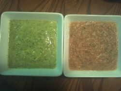 Green salsa is my recipe, pink is my brother's. Mine was SO. Delicious.