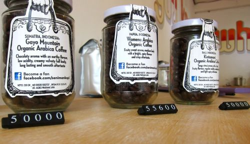 Fresh roasted beans sealed in recycled, sand-blast branded jars…