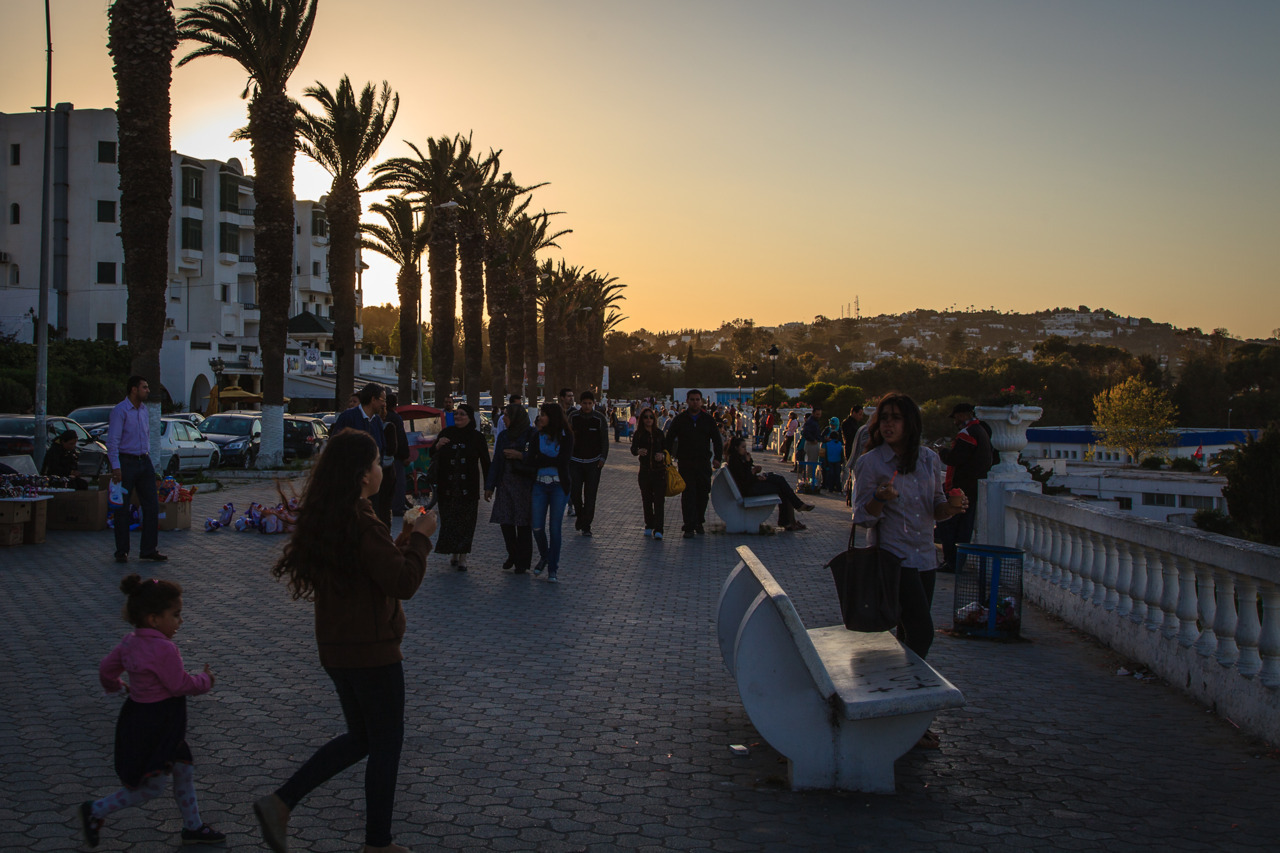A Mediterranean Corniche People crowd the corniche in La Marsa, Tunisia on the evening of May Day. (by Omar Chatriwala)
