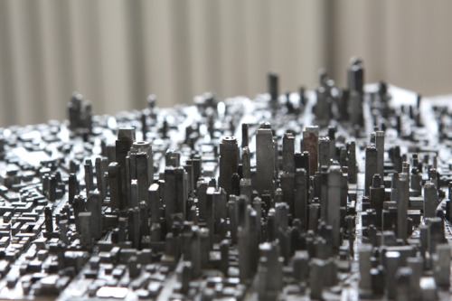 Type City is the name of the recent work of Hong Seon Jang, the Korean artist has reconstructed an entire city (probably inspired by Hong Kong) using the old typefaces Type City by http://www.hongseonjang.com/