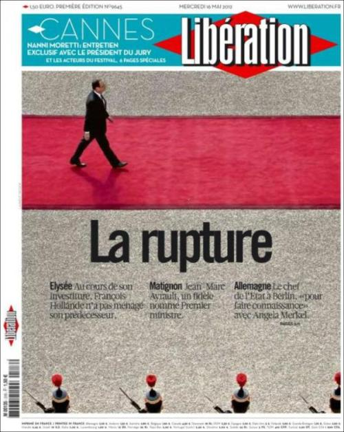 "The red line he walks on makes the ""rupture"" in the headline even more dramatic."